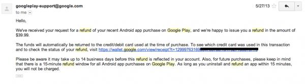 Google Play Refund Successful