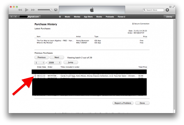 Open Purchase History for a Transaction
