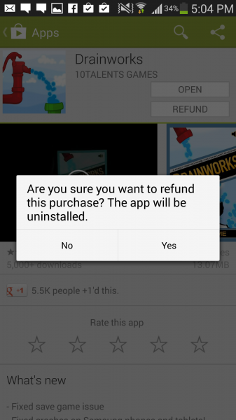 Play Store Refund for App within 15 mins