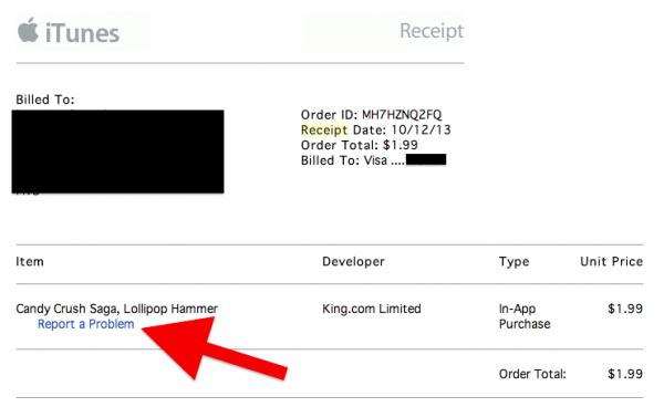 iTunes Report a Problem Email