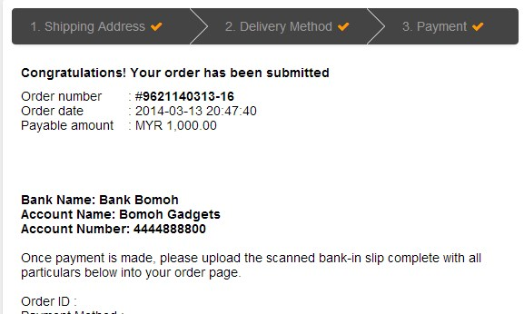 Bomoh Gadgets Malaysia Online Store Purchase Notification