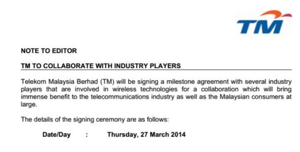 TM's Media Invite, 26 March 2014