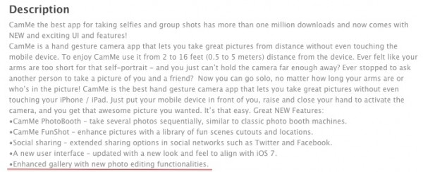 CamMe Description on App Store
