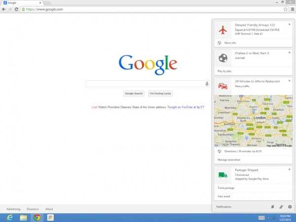 Google Now on Google Chrome