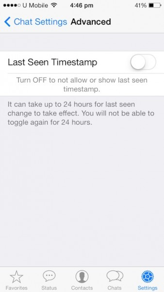 Turn off Timestamp Whatsapp iOS