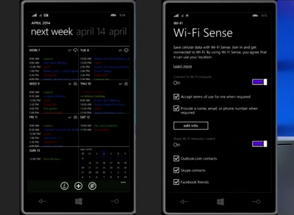 New Calendar and Wi-Fi Sense app, Windows Phone 8.1