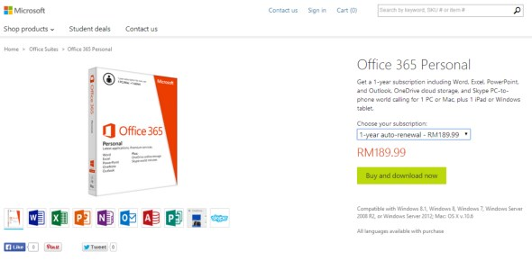 Office 365 Personal, Malaysia