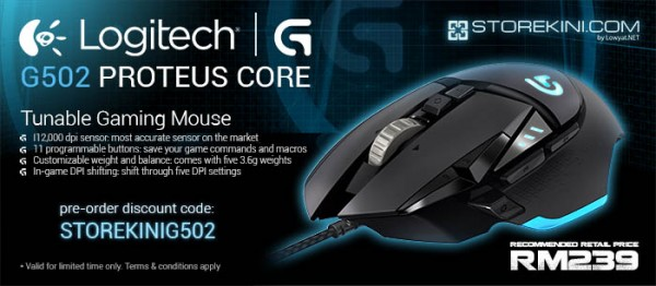 Logitech G502 Proteus Core Gaming Mouse Pre-Order at Storekini