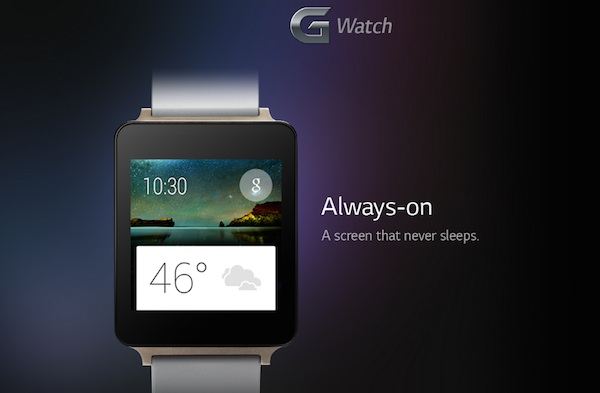 LG G Watch Champagne Gold Always On Screen