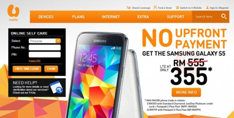 U Mobile RM 355 Plan For Samsung Galaxy S5