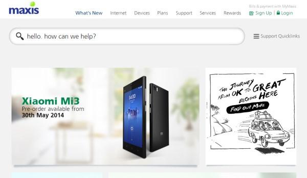 Xiaomi Mi 3 Pre-Order for Maxis