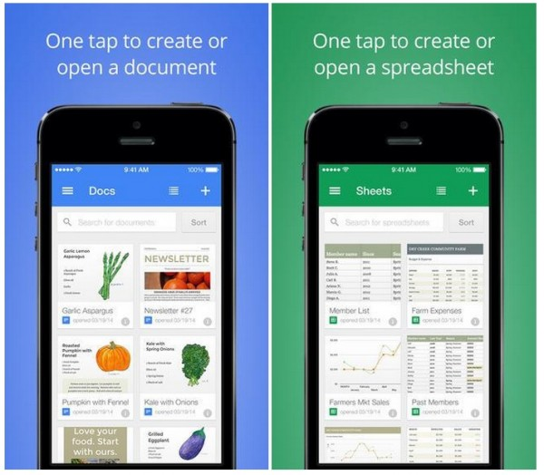 Google Docs and Sheets App