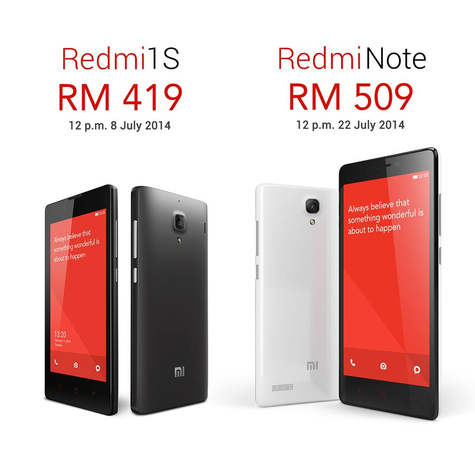 Xiaomi Malaysia Unveils Prices of Redmi 1S and Redmi Note ...