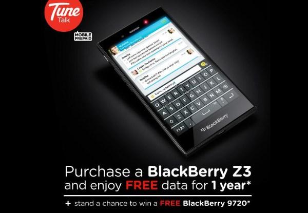 Tune Talk BlackBerry Z3 Deal
