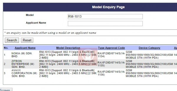 Nokia X2 at SIRIM Database