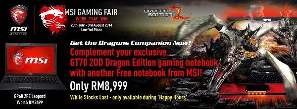 MSI GT70 2OD promotion - gaming fair