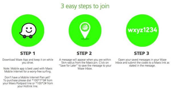 Maxis Waze Contest Steps