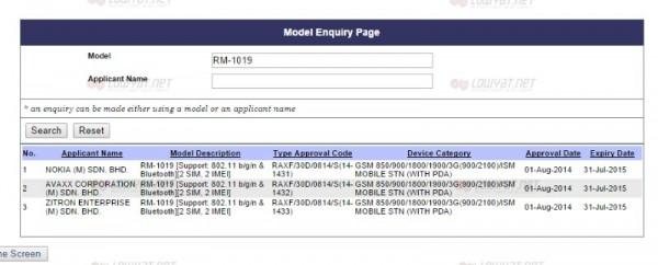 Nokia Lumia 530 On SIRIM's Database