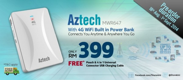 Aztech MWR647 4G LTE Mi-Fi with Built-In Power Bank, Storekini