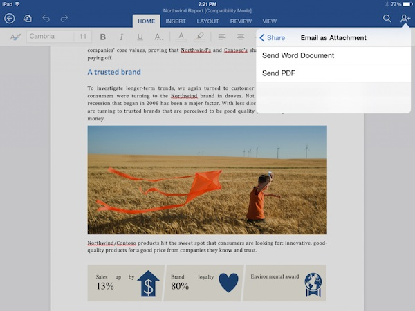 Office for iPad Export to PDF