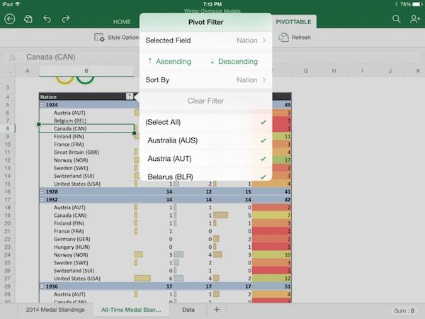 Office for iPad PivotTable