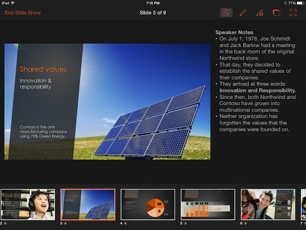 Office for iPad Presenter View