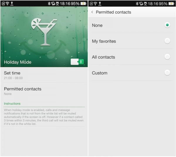 Oppo Find 7 Holiday Mode