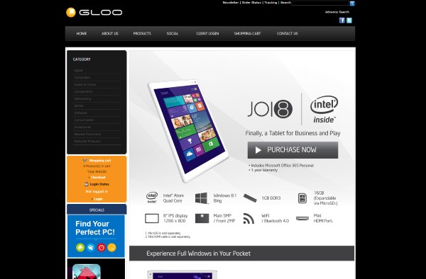 Joi 8 Tablet, Powered By Intel at SNS Network GLOO Online Store