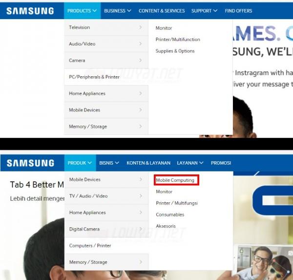 Samsung Malaysia vs Samsung Indonesia Website