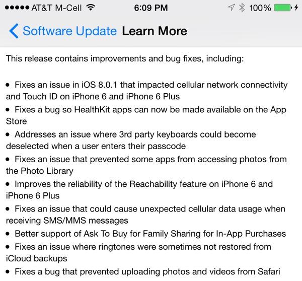 Apple iOS 8.0.2 Update