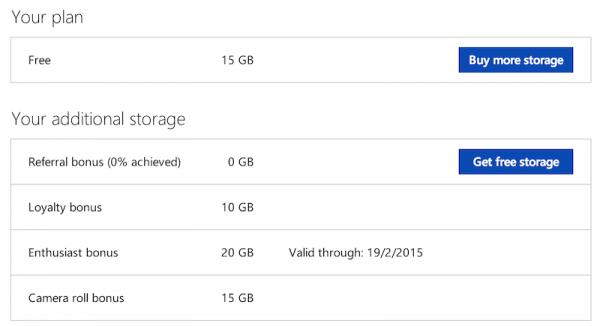 OneDrive 15GB Camera Roll Bonus