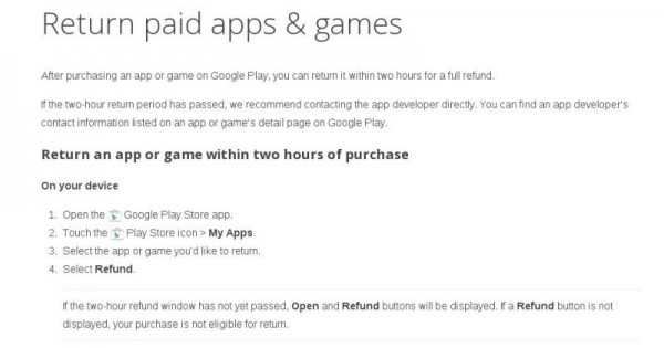 Play Store Refund Window Extended to Two Hours