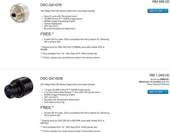 Sony Malaysia QX10 and QX100 Price Drop