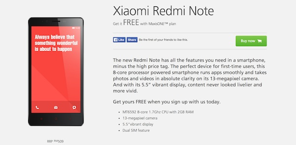 Xiaomi Redmi Note Maxis FREE
