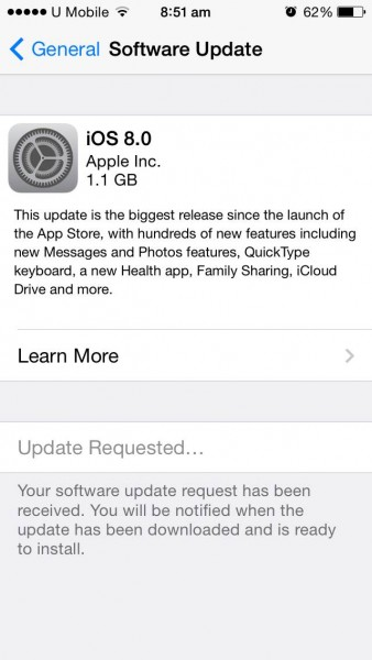 iOS 8 Update 1.1GB