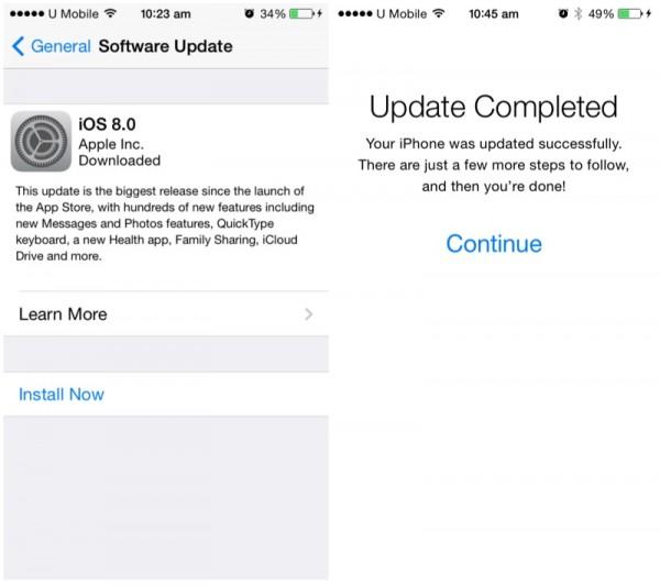 iOS 8 Update Complete