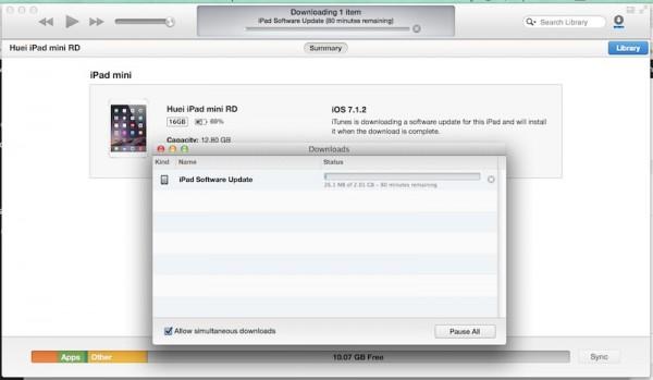 iPad iOS 8 Update via iTunes 2GB