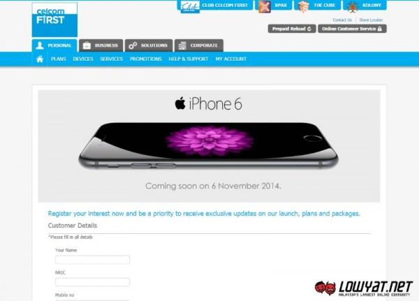 iPhone 6 Registration of Interest Celcom