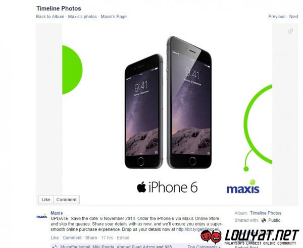 Maxis iPhone 6 and iPhone 6 Plus, 6 November