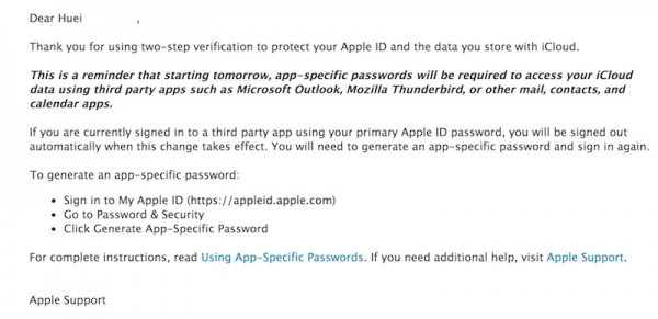 Apple App Specific Password Email Reminder