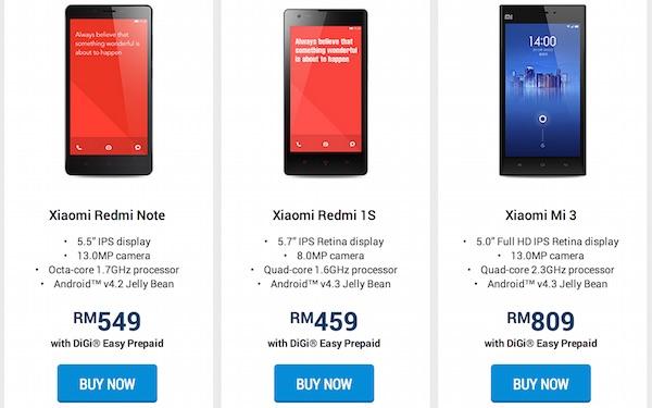 DiGi Xiaomi Prepaid Bundle Price