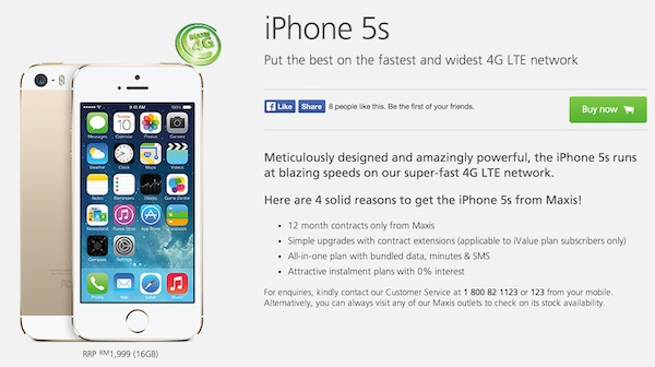 Maxis Revise iPhone 5s Price