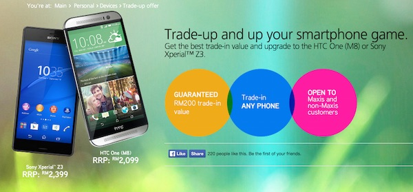 Maxis trade in to buy Xperia Z3