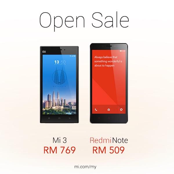 Mi 3 and Redmi Note Open Sale