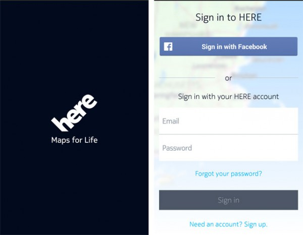 Nokia HERE for Android Sign In