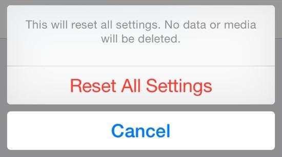 Reset all Settings iPhone