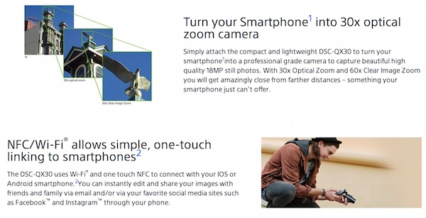 Sony QX30 Zoom and NFC
