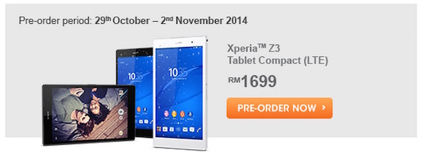 Sony Xperia Z3 Tablet Compact RM1699