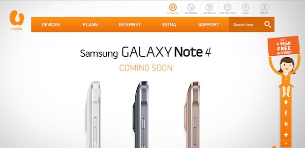 U Mobile Samsung Galaxy Note 4 Teaser