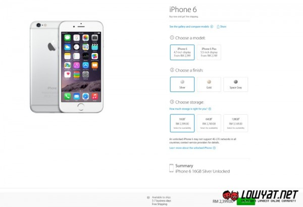 iPhone 6 at Apple Online Store Malaysia